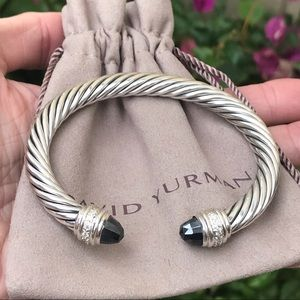 David Yurman 7mm Cable Cuff w/ Hematite & Diamonds